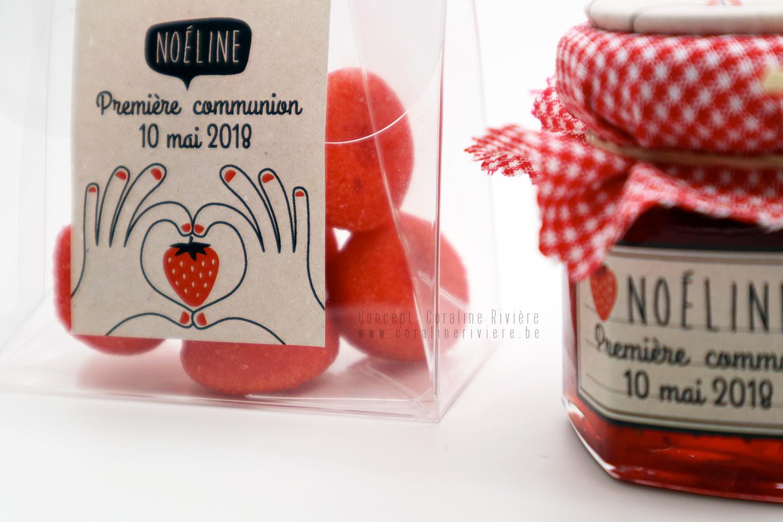 souvenir premiere communion fraise tagada confiture fraise magnet champetre coeur