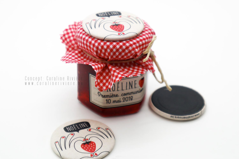 souvenir premiere communion petit pot confiture fraise magnet champetre coeur rouge blanc