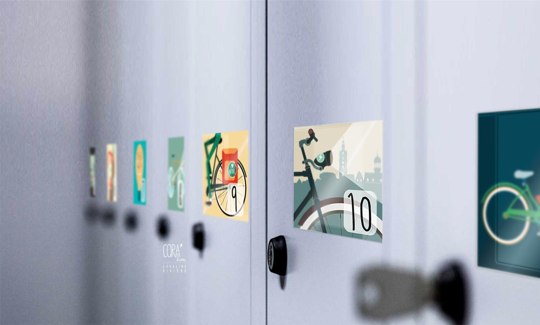 stickers sur casiers velo illustration graphisme theme velo electrique UCL Mons