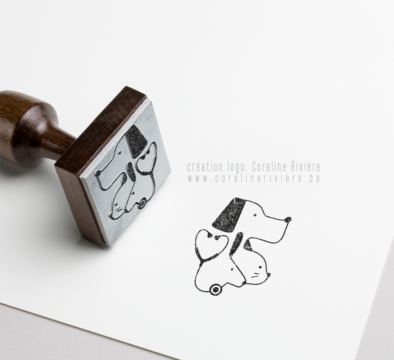 tampon logo veterinaire chien chat lapin stetoscope