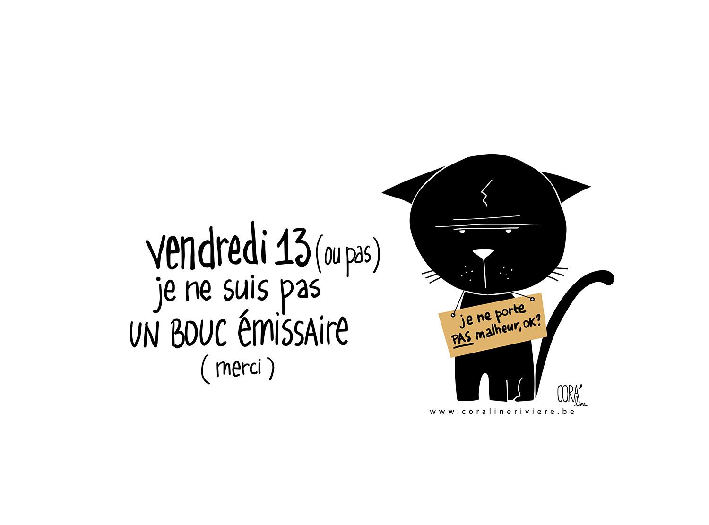 vendredi 13 chat noir ne porte pas malheur dessin coraline riviere
